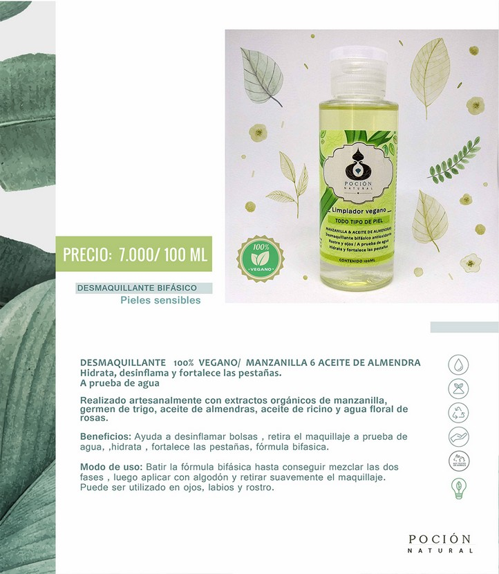 Desmaquillante bifasico vegano manzanilla 6 aceite de almendra